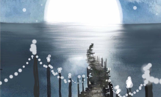 beautful acrylic painting of a peer stretching out into the water at night reflecting a big moon