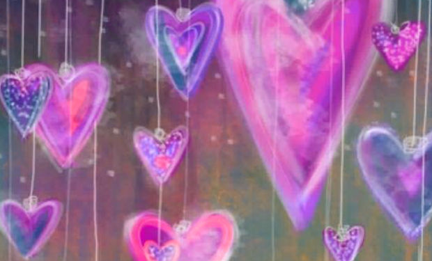 acrylic painting of beautiful pink and lilac hanging hearts