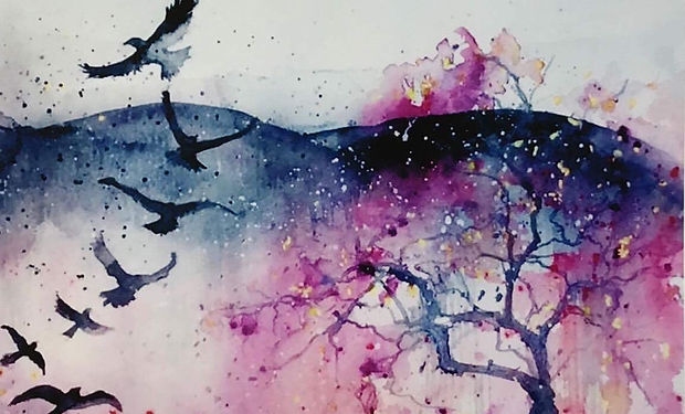 Watercolour painting of a flock of birds, a murder of crows fying over a meadow with a tree.