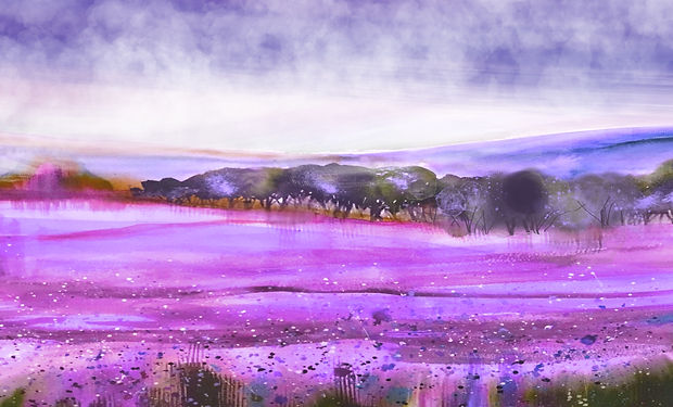 watercolour painting of a colourful heathland meadow wth trees and rolling hills