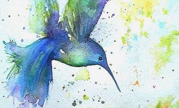 waterclolur painting of a blue and green humminbird
