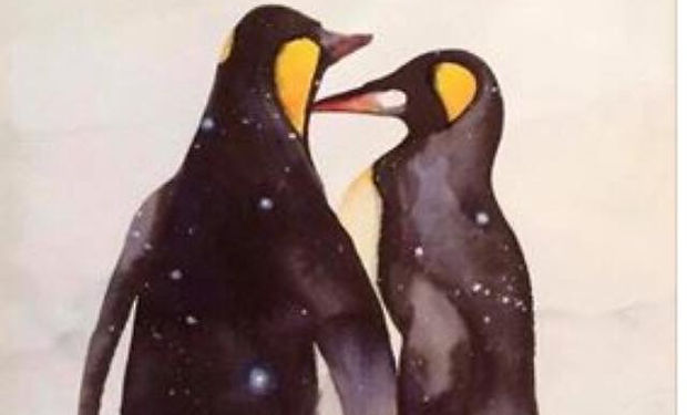 Watercoour Painting of two penguins in the winter snow.
