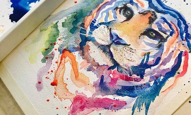 Watercolour paining of a tiger, rainbow colours, framed and photographed
