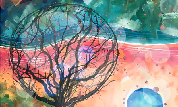 acrylic painting of an abstract tree wit a colouful sun set background