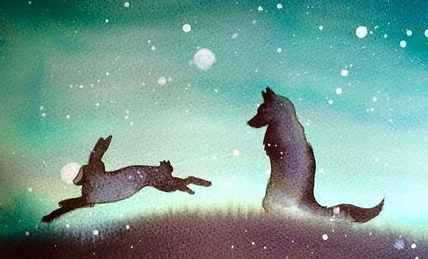 ink painting of a fox and a hare silhouette against the night sky
