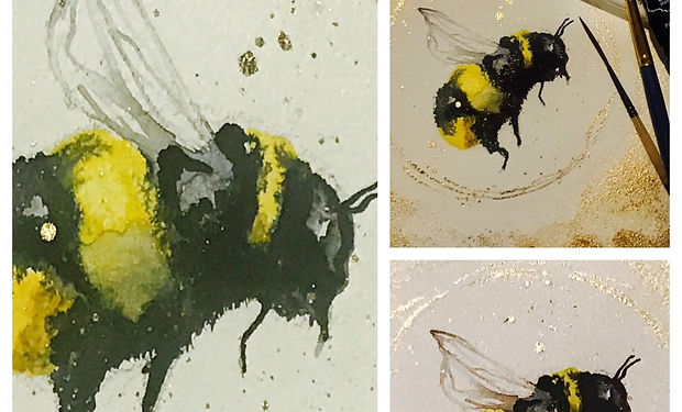 acrylic painting of a bumble bee withgold detail