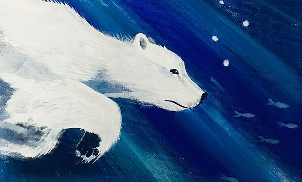 acrylic painting of a beautiful swimming polar bear