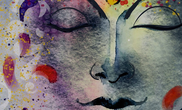 a beautiful watercolou and ink paintng of relaxation an flowers, very spiritual.