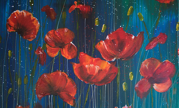 acrylic paintig of a colourful meadow of poppies
