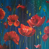 Acrylic painting of poppies using blue, dark blue and red colours.