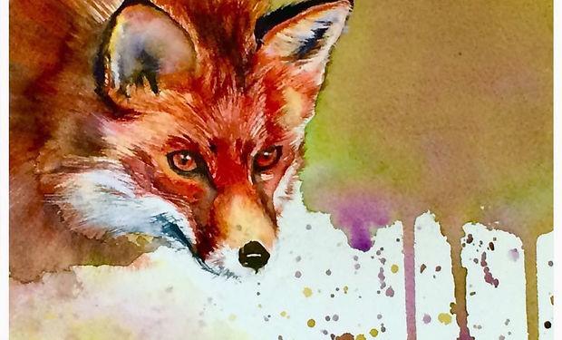 watercolour pinting of a fox