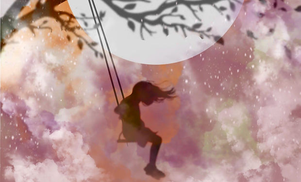 A watercolour painting of a girl on a swing at nighttime with a large moon.