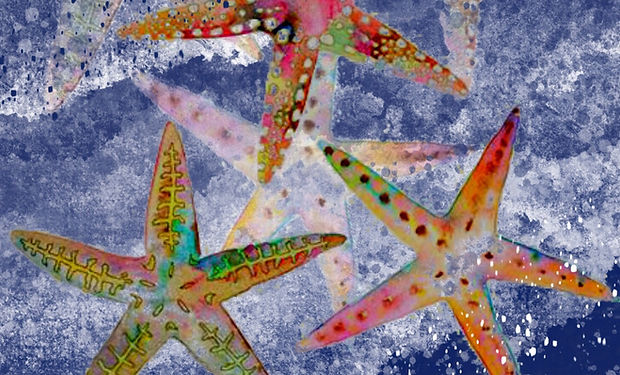 Watercolour painting of starfish in the sea blue and pink, colourful.