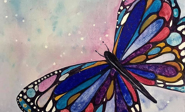 acrylic painting of a colourful abstrac butterfly
