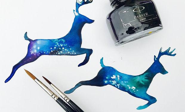 deer drawn using Quink