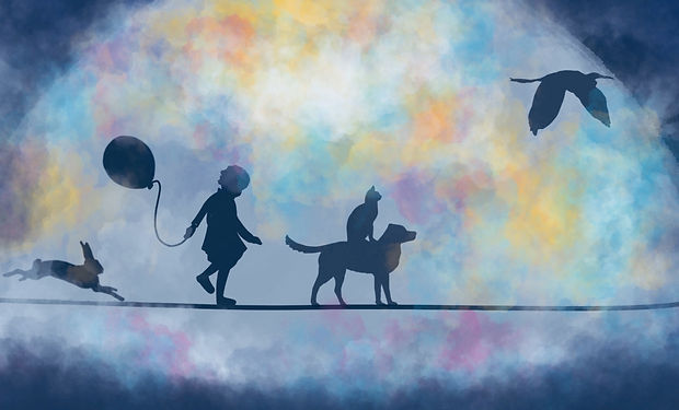 Watercolour painting of the silhouettes of a child and animals walking through the night.