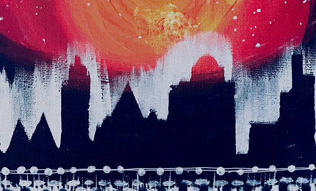 acrylic painting of a night time city skyline silhouette