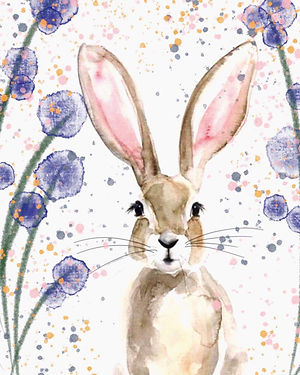 waterclour painting of a bunny rabbit using brown green and purple colours.