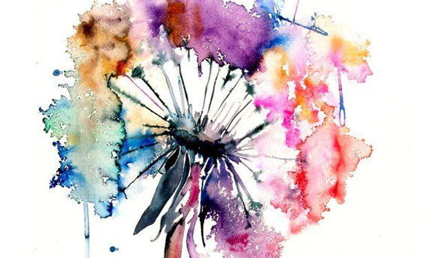 watercolour and metallic paint ofan absract dandelion colourful and beautiful.