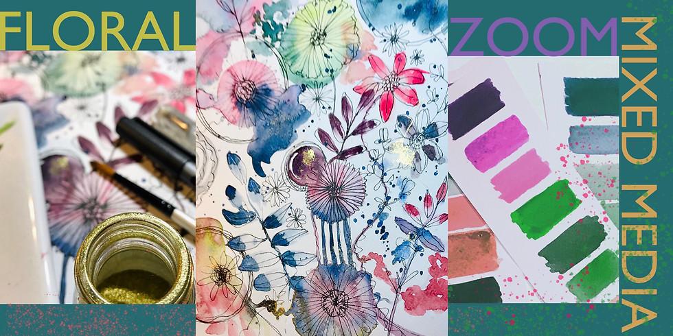 ZOOM 2pm Mixed-Media Florals