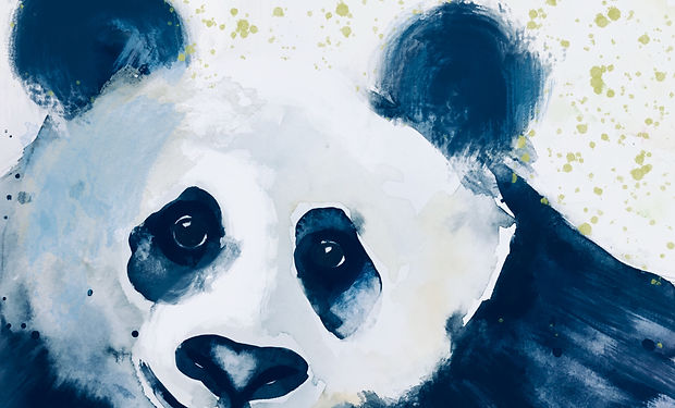 acrylic painting of a cute panda pear in black and white.