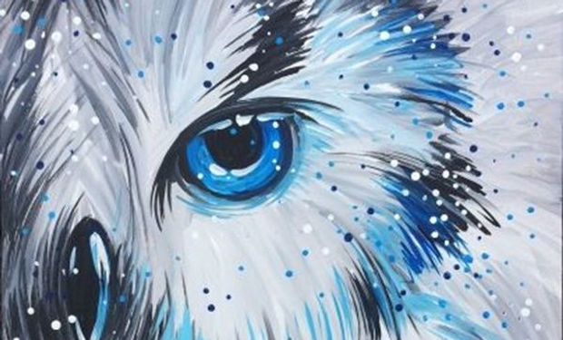 acrylic painting of a beautiful snowy blue eyed owl