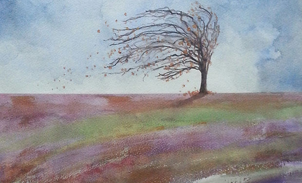 watercolou painting of a medow and a lonley tree blown by wind