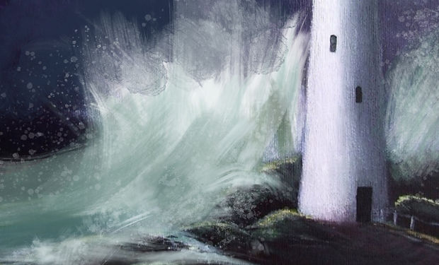 acrylc painting of a stormy night with waves crashing against a lighthouse.