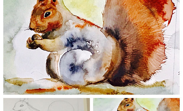 A watercolour painting of a Red squirrel with tube paints and paintbrush laid on top