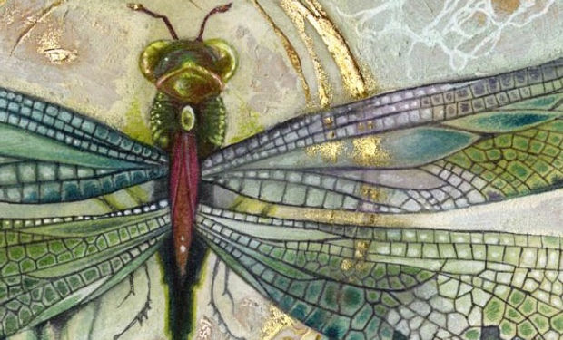 watercolour mixed media painting of a colourful dragonfly with gold detail.