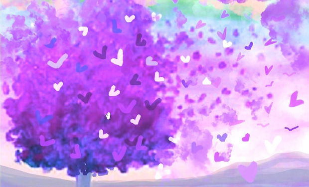 acrylic paintig of an abstract tree blowing in the wind with heart leaves.