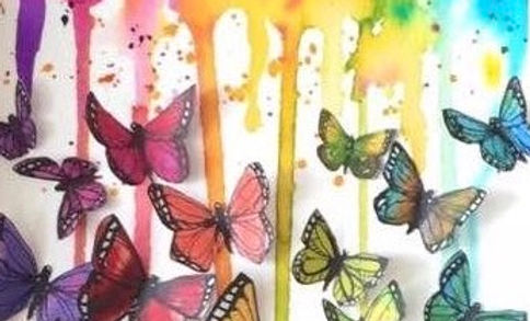 watercolour collage of beautiful colorful rainbow butterflies.
