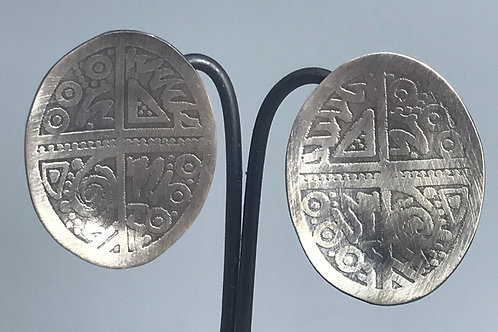 "Etched Earrings  1-1/4"" with post"