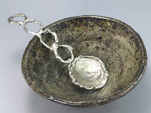 Reticulated Sterling Condiment Spoon
