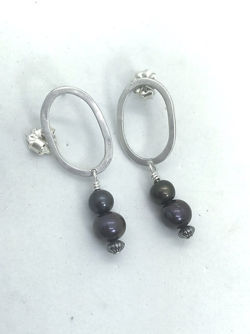 Hoop Post Earrings with Pearls