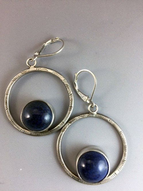 Sterling Patterned Hoops with Pottery Stones