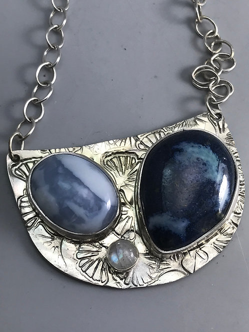 Owyhee Opal, Moonstone and Pottery Necklace