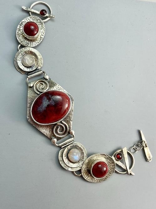 Peachbloom and Moonstone Bracelet