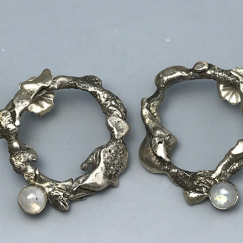 Torch formed hoops (posts)  and moonstones