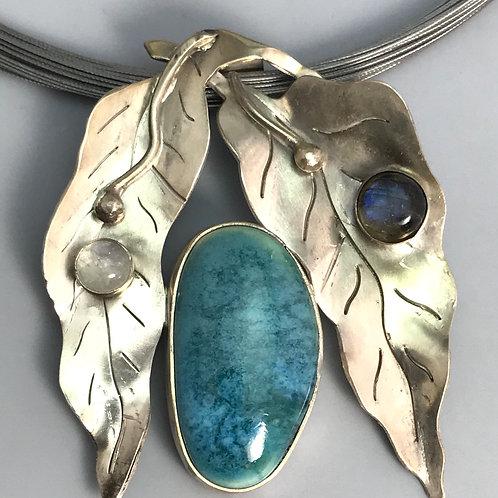 Leaf. Pendant with Turquoise Blue Swirled Glaze
