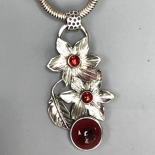 Small double Flower Pendant-peachbloom