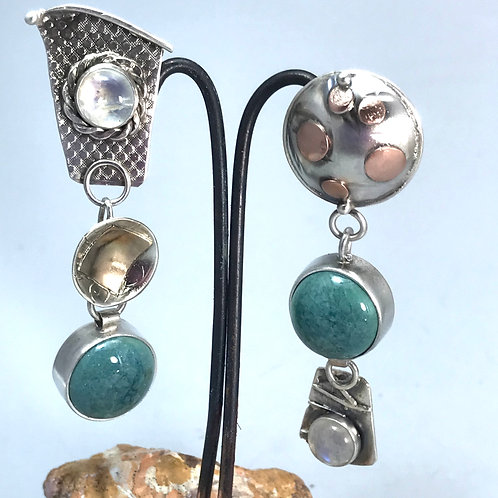 Mismatch Earrings with Turquoise Pottery and Moonstones