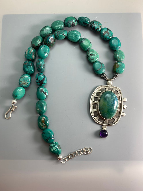 Turquoise Neclace with Ametyst