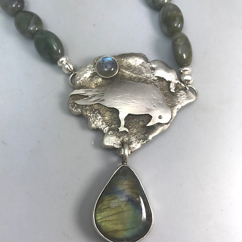 Labradorite Raven Necklace