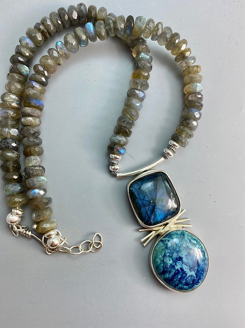 Labradorite Necklace with turquoise/cobalt