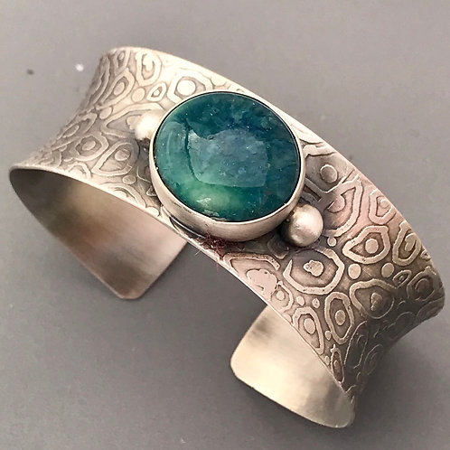 Etched texture cuff bracelets with dark turquoise stones