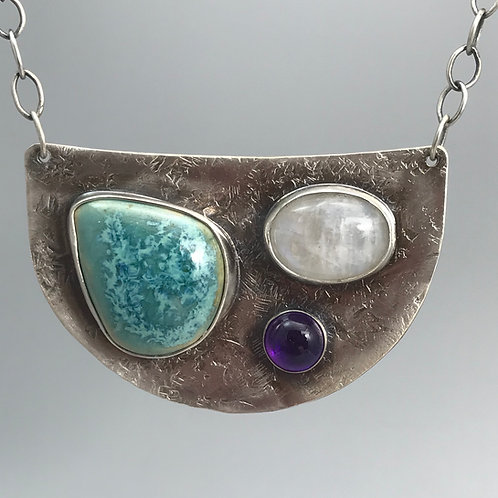 Moonstone, amethyst andPottery Cabochon Necklace