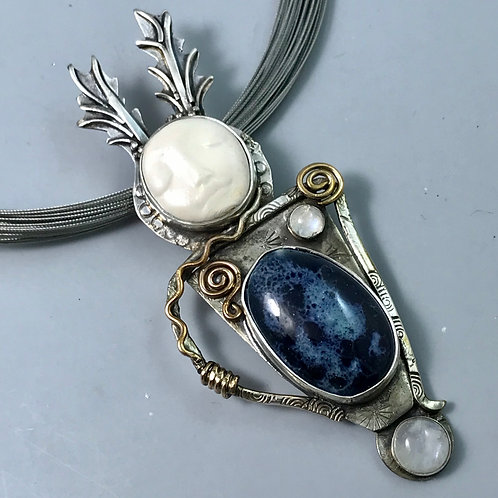 Antlered goddess with blue and moonstone