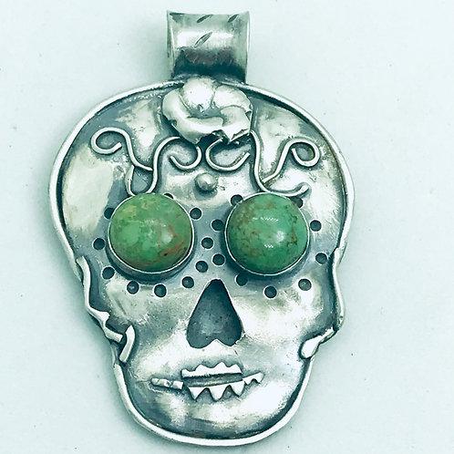 Turquoise Eyed Dia de los Muertos Pendant