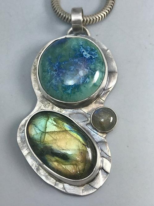 Labradorite and Turquoise Swirl Pottery Pendant